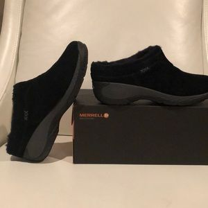 Merrell Black Q Form 2 Suede sheepskin-lined mules